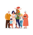 a large happy family is standing and hugging vector image