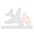 airplane crash polygonal frame mesh vector image vector image