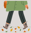 autumn outfit close up walk vector image