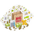 big sale concept retail sellout shopping bag with vector image vector image