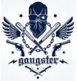 brutal gangster emblem or logo with aggressive vector image vector image
