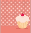 Cherry cupcake on white polka dots pink background vector image