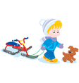 Child with a snow scooter and pup vector image