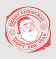 christmas red sign stamped with a cute santa claus vector image vector image