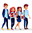 college students in university clothing vector image vector image