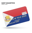 Credit card with Sint Maarten flag background for vector image vector image