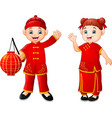cute chinese children cartoon vector image vector image