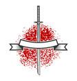 emblem with katana swords design element for logo vector image