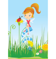 Fairy on a flower meadow and ladybug vector image vector image