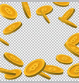 falling golden bitcoin objects vector image