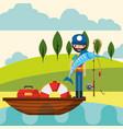 fishing people cartoon vector image vector image