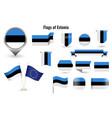 flag estonia big set icons and symbols vector image vector image