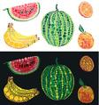Fruit from circles watermelon orange and banana vector image vector image