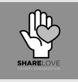 hand and heart logo template for social donation vector image vector image