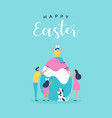 happy easter card family painting egg together vector image