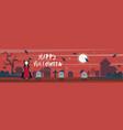 happy halloween greeting card vampire on cemetery vector image