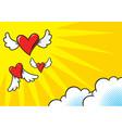 heart shaped comics flying vector image vector image