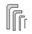 Hex wrench outline vector image