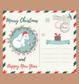 holiday greeting postcard with polar bear and bird vector image