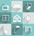 Interior furniture icons set vector image vector image
