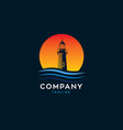 lighthouse water waves with sunset logo vector image