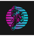 motocross sunset retro vector image vector image