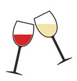 red and white wine glasses clink icon isolated vector image
