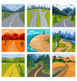 road landscape roadway in forest and vector image