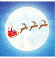 santa claus on sleigh full of gifts and reindeers vector image vector image