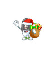 santa claus with gift bag black beans cartoon vector image vector image