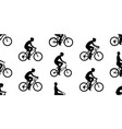 seamless pattern with men riding bicycles vector image