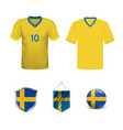 set abstract football jerseys sweden norway vector image vector image