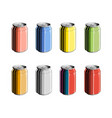 set aluminum can in color isolated on white vector image vector image