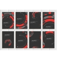 set of brochures in abstract style with red vector image