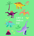 set of funny dinosaurus for poster print baby vector image