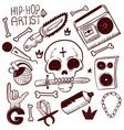 set of rap music icons black isolated hip hop vector image vector image