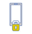 smartphone technology with padlock security vector image