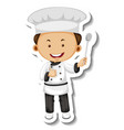 sticker template with a chef boy cartoon vector image