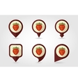 Strawberry mapping pins icons vector image