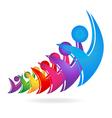 Swooshes happy figures teamwork logo vector image vector image