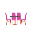 table with four chairs isolated furniture vector image vector image