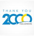 thank you 2000 followers logo concept vector image vector image