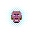 Tribal mask icon comics style vector image