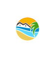 tropical house with wave and coconut trees vector image vector image
