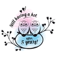 cute owls couple on a branch vector image