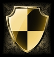 gold shield over seamless background vector image
