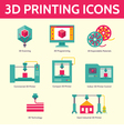 3D Printing Icons in Flat Design Style vector image