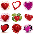 3d red and pink stylized hearts collection Set of vector image
