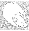 adult coloring bookpage a cute sleeping rat on vector image vector image
