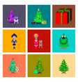 assembly flat christmas tree deer rabbit champagne vector image